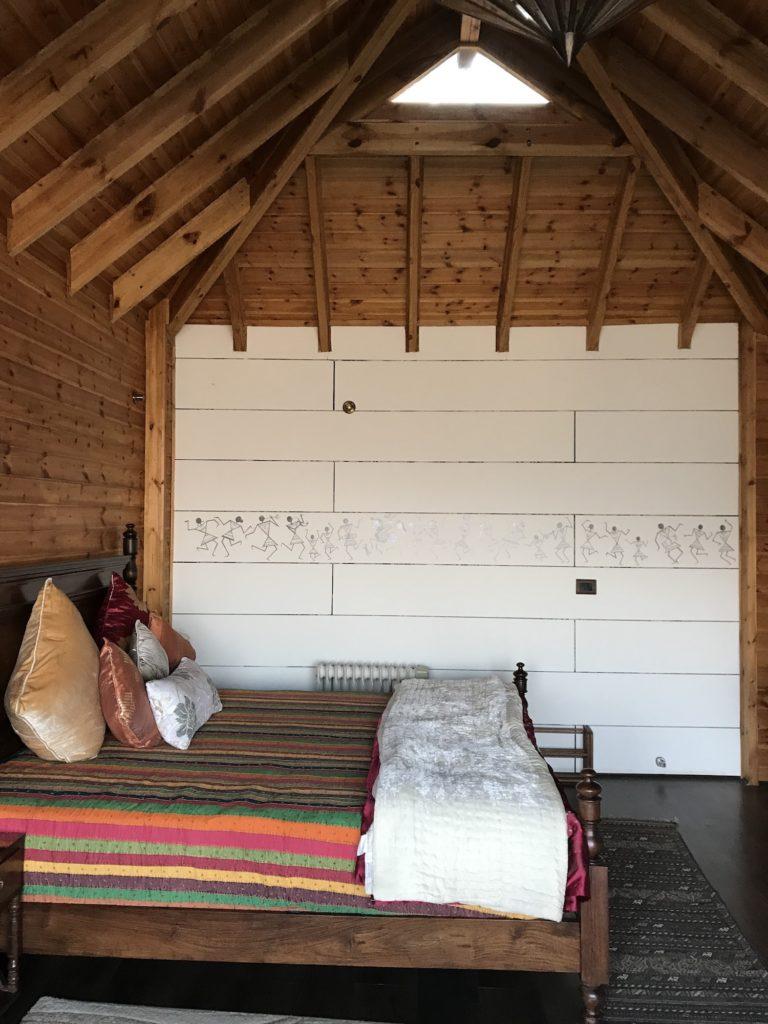 The bedroom at Avaas Cottage, Ramgarh, Uttarakhand.