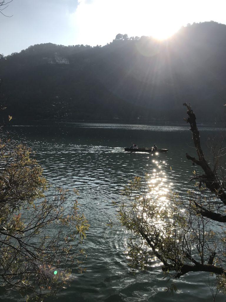 Nainital Lake at sunset.