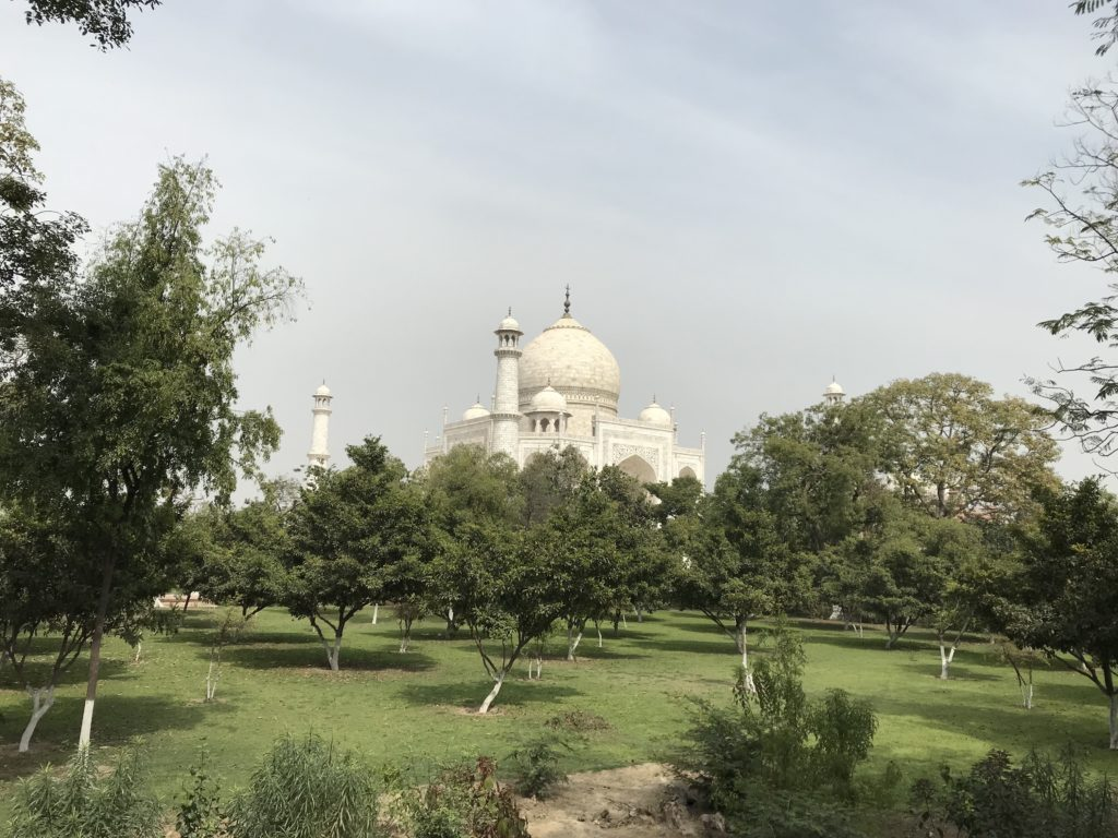 The Taj Mahal and the gardens.