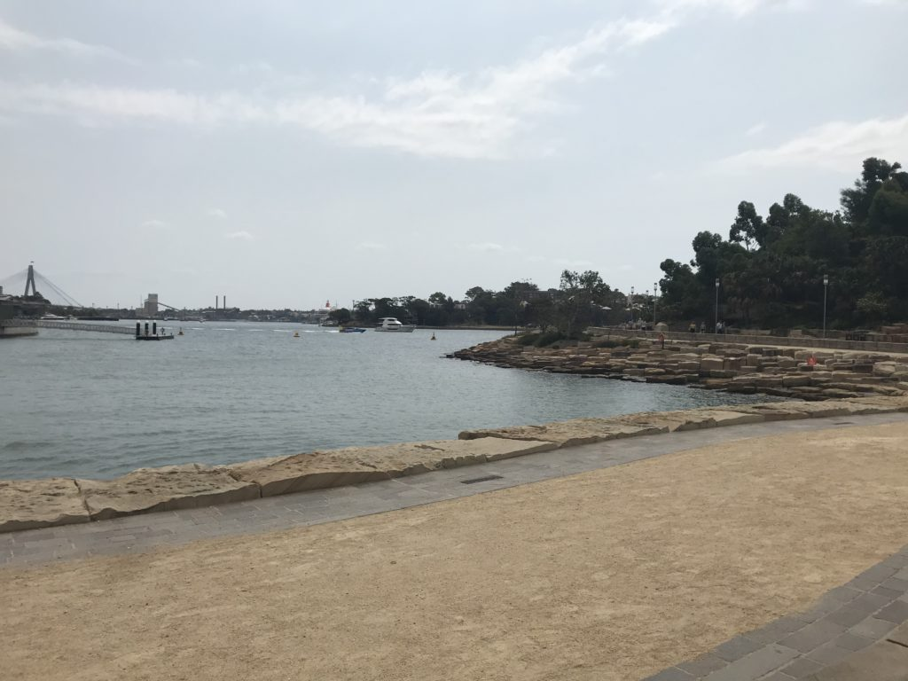Barangaroo Foreshore Walk. It is made with 10,000 sandstone blocks of different shapes and sizes, most extracted from the area.