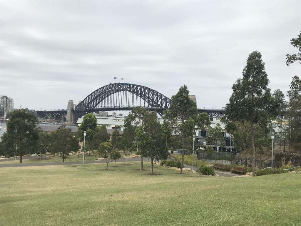 The view of the Sydney Harbour Bridge from Barangaroo Reserve.