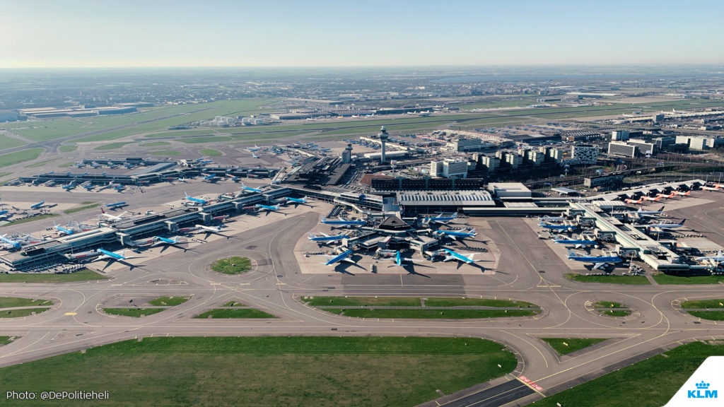 KLM has parked its planes at Schiphol Amsterdam Airport.
