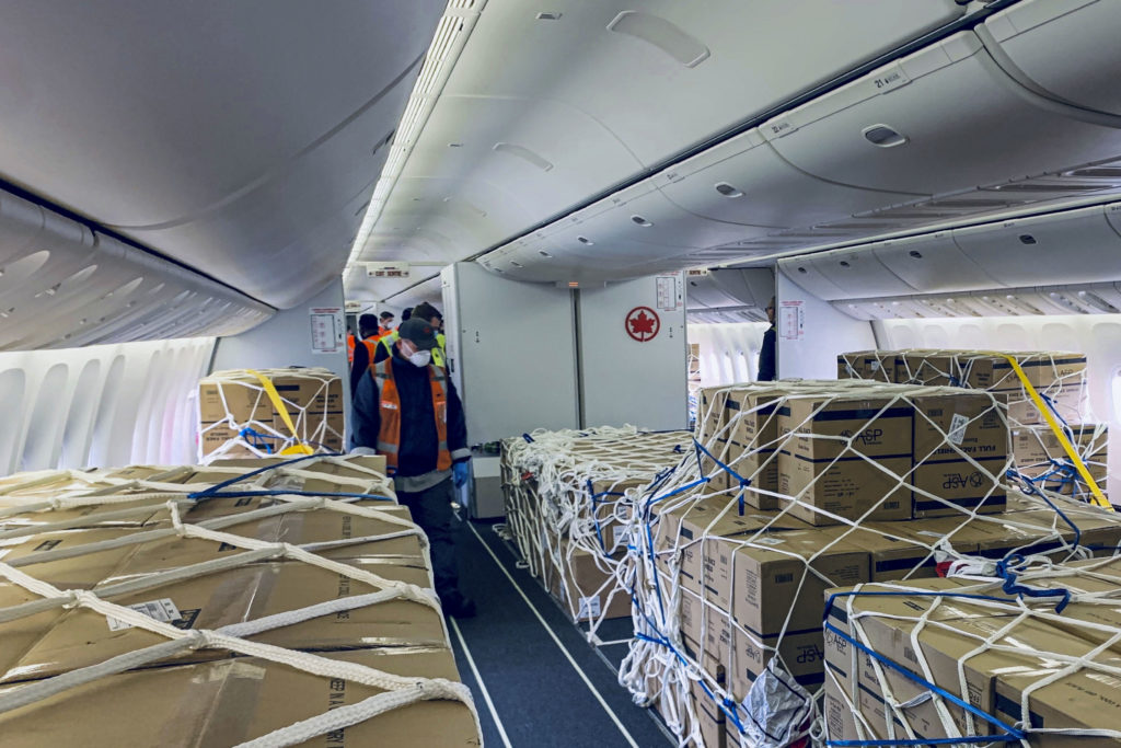 Air Canada has changed configuration of its passenger planes to fit more cargo.