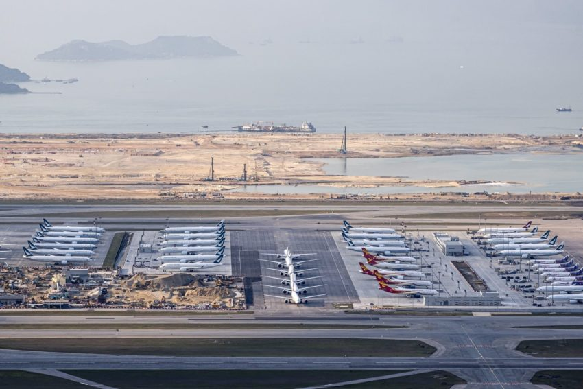 Planes parked at Hong Kong International Airport.