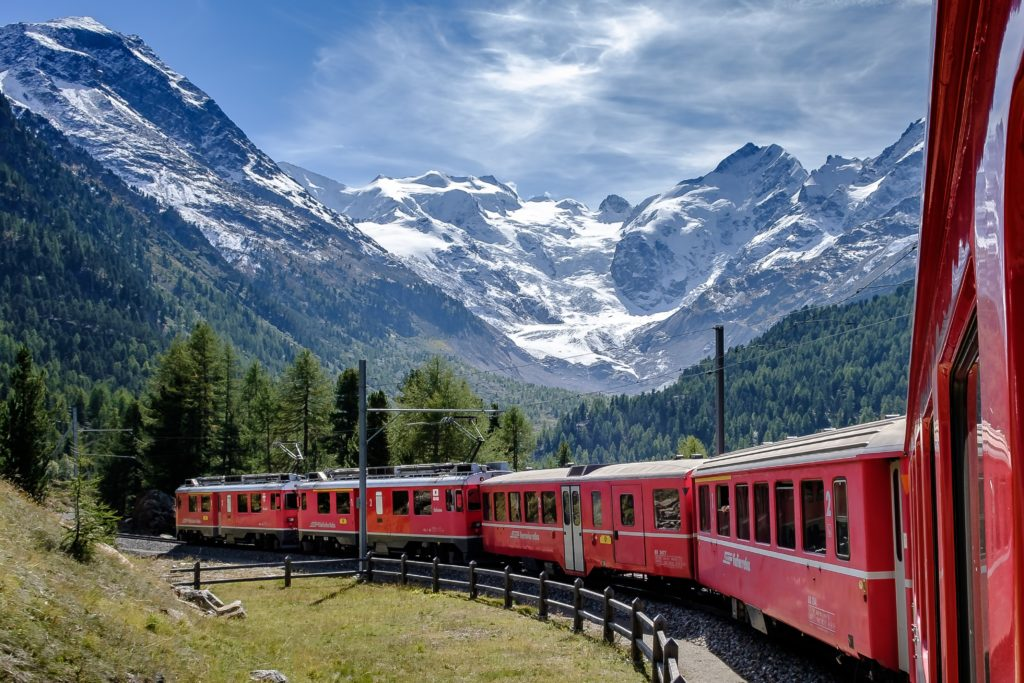 A scenic train in Switzerland.