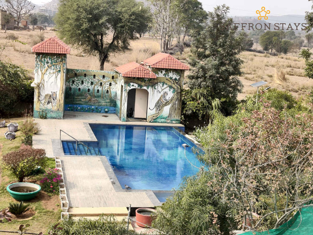 The outdoor pool at Amber Mansion, in Jaipur.