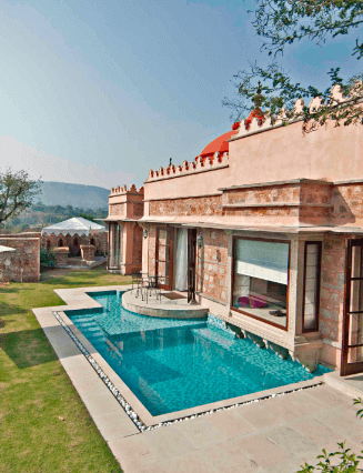 A private pool villa at Tree of Life Jaipur.