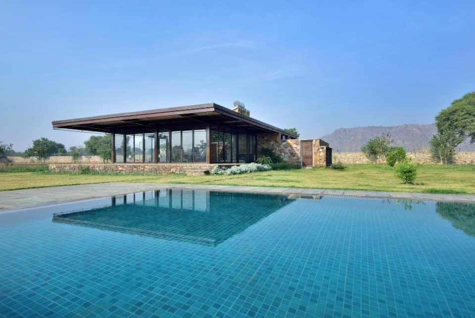 A pool with a view at RajNikas Farm.